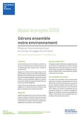 appel a projet environnement fondation de france 2015