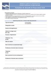 formulaire dossier de demande financement