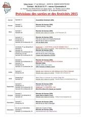 previsions des sorties et des festivites 2015 1