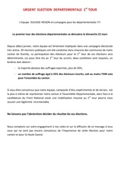 urgent election departementale 1er tour 1