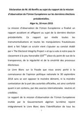 declaration de m ali benflis au sujet du rapport de la mission d observation de l union europeenne sur les dernieres elections presidentielles