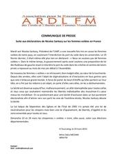 Fichier PDF communique de presse sarkozy