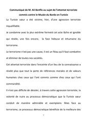communique de m ali benflis au sujet de l attentat terroriste commis contre le musee du bardo en tunisie