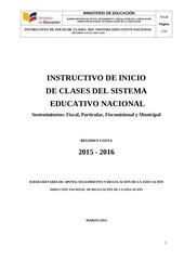 instructivo de inicio de clases costa 2015 2016 20150319