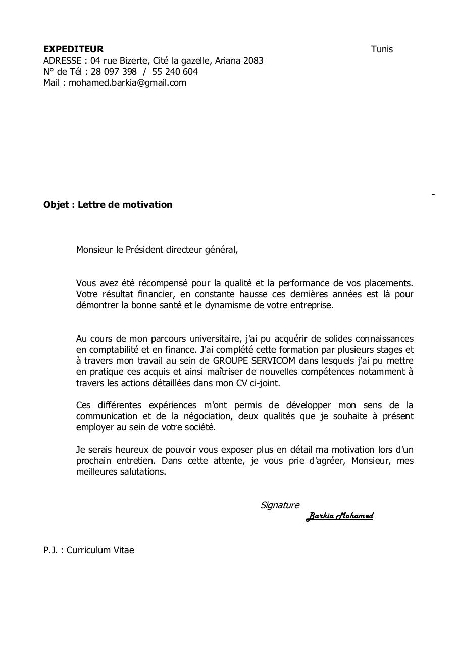 lettre de motivation barkia mohamed par mohamed barkia