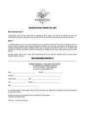 bulletin d adhesion association terre ou art