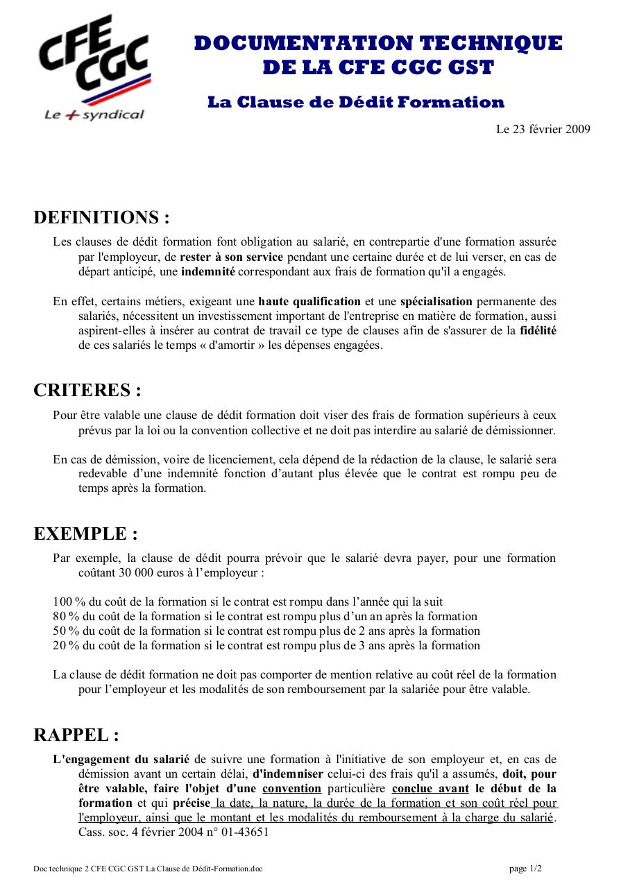 Aperçu du document Doc 2 CFE CGC GST La Clause de Dédit-Formation.pdf - page 1/2