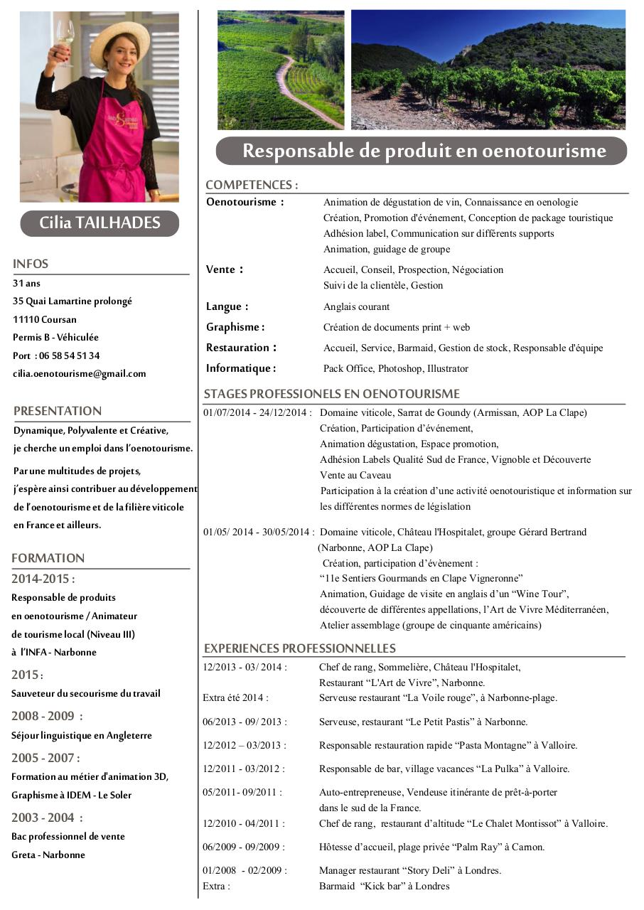 cv responsable de produit en oenotourisme  cv responsable