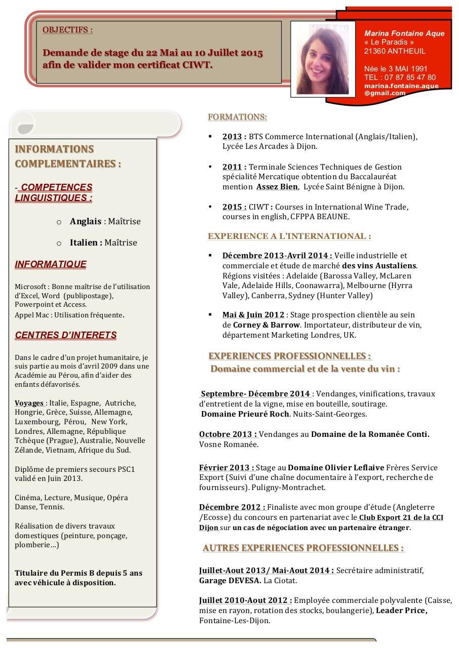 cv marina doc par marina fontaine aque - cv marina pdf