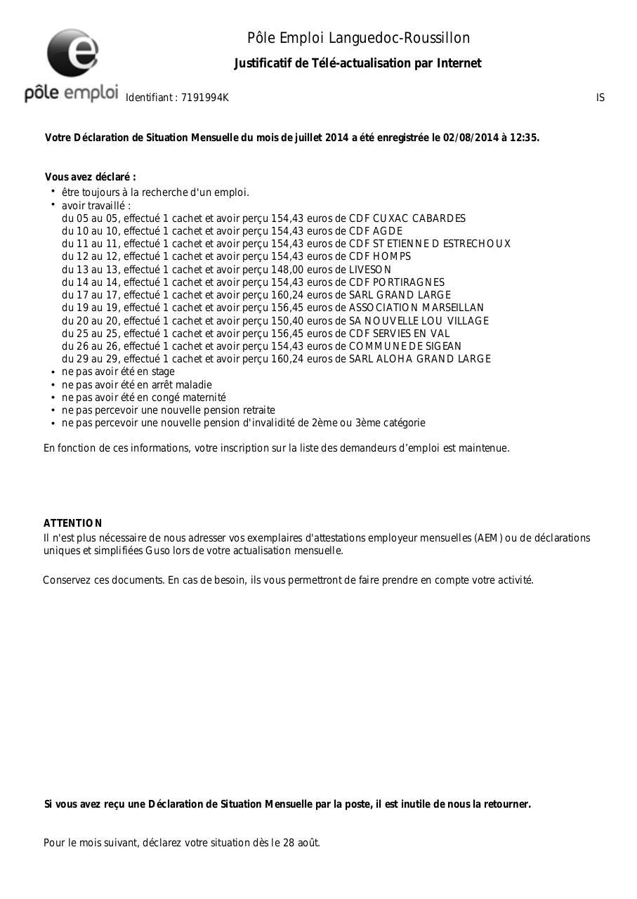 pole emploi actualisation calendrier 2014