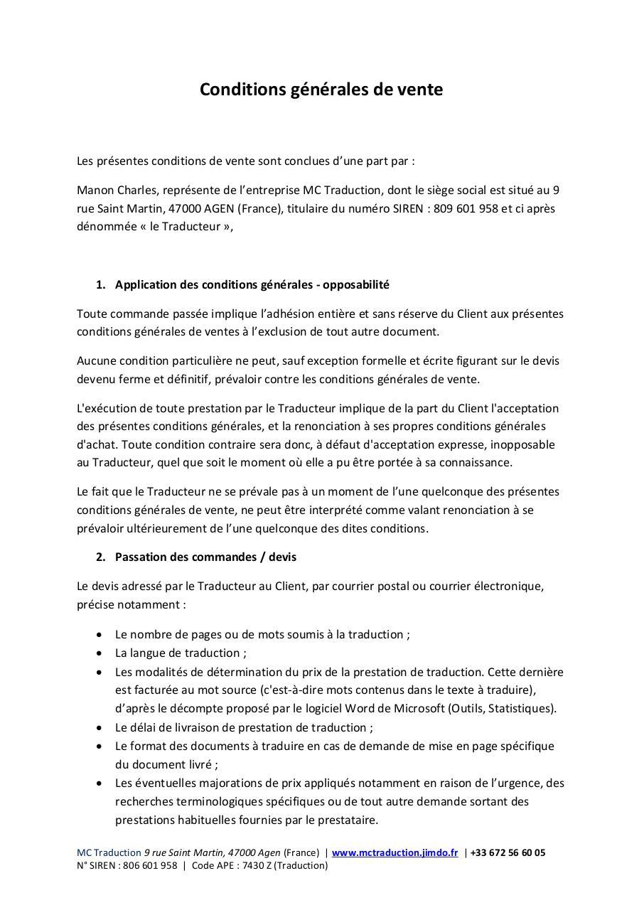 Conditions Generales De Vente Pdf Par Cookies 47 Hotmail Fr