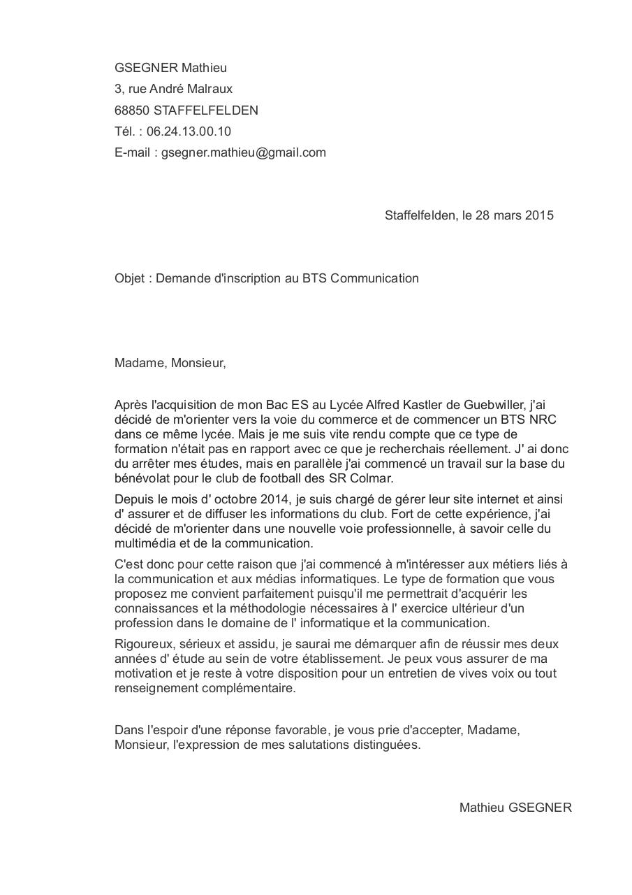 bts communication lettre de motivation Lettre de motivation BTS COMMUNICATION par Mathieu GSEGNER  bts communication lettre de motivation