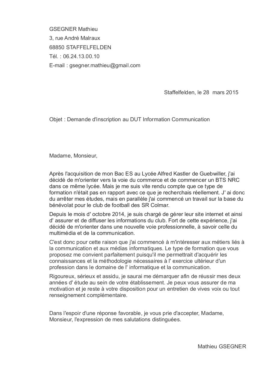 Lettre de motivation Bac  2 Communication