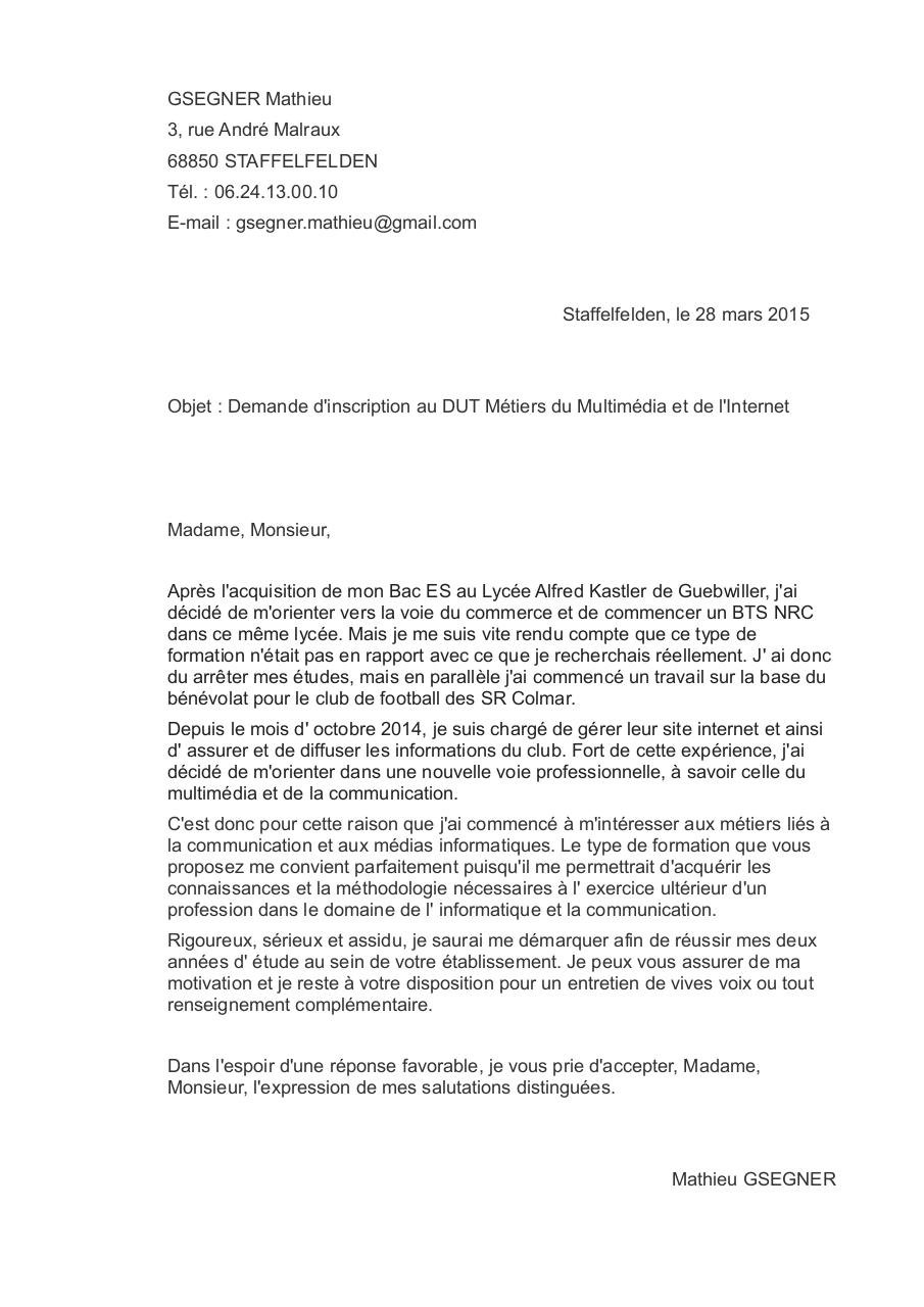 Lettre De Motivation Dut Mmi Par Mathieu Gsegner Fichier Pdf