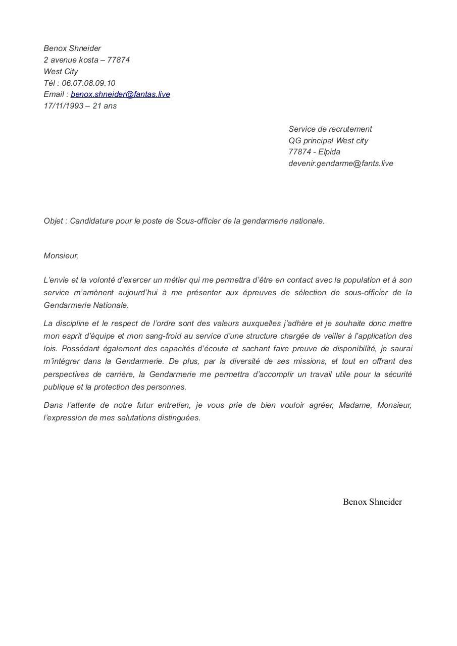 lettre motivation gendarme