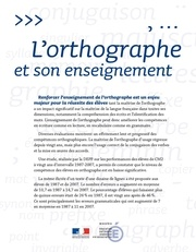lorthographe et son enseignement