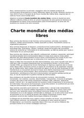 charte mondiale des medias libres