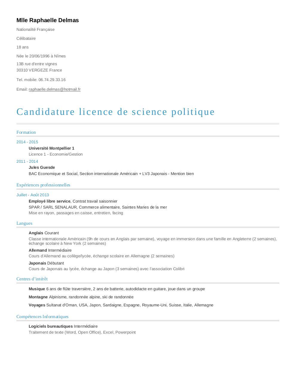 cv de raphaelle delmas au format a4 - cv 1  pdf