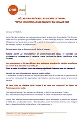 d p gt revue ministerielle des missions du 31 03 2015