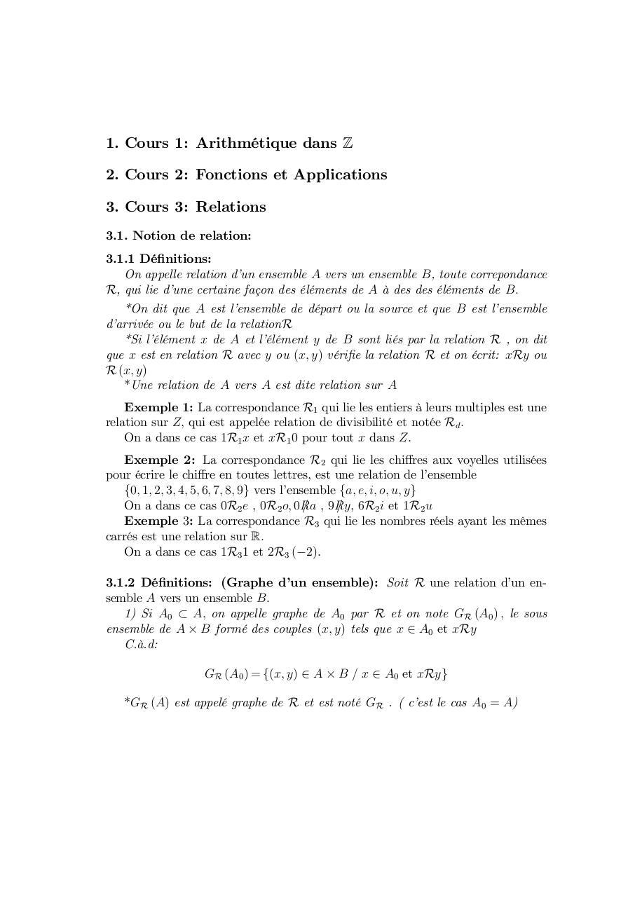 Cours de Algèbre 1 | Science Physique SMP
