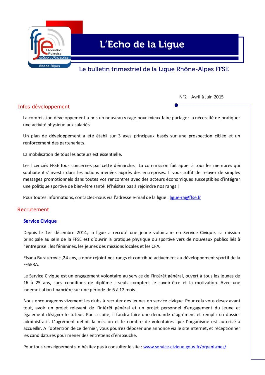 Aperçu du document Newsletter 2 - FFSERA.pdf - page 1/4