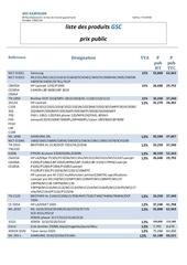 liste de produits gsc