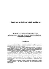droit du credit au maroc 1