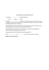 autorisation parentale categorie u12 le 15 avril 2015