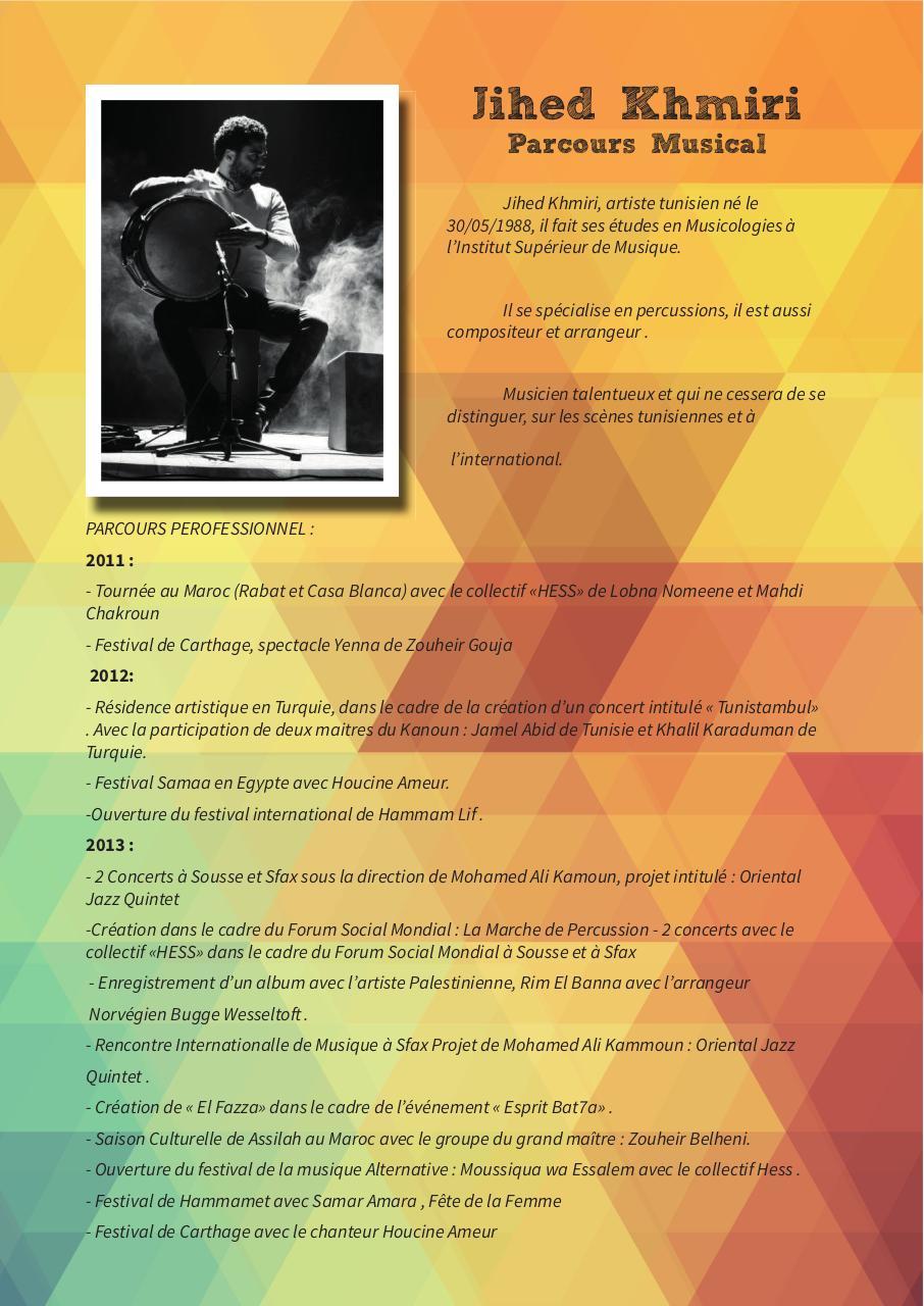 cv indd - cv jihed khmiri percussioniste tunisien pdf