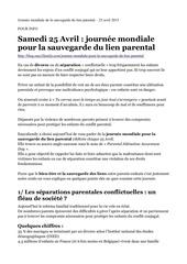 journee mondiale de la sauvegarde du lien parental