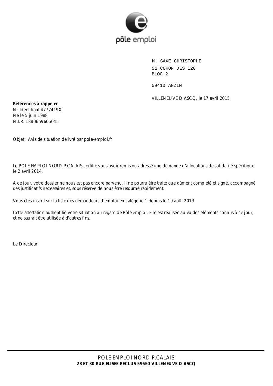 attestation de situation dossier non retourn u00e9  s1  par