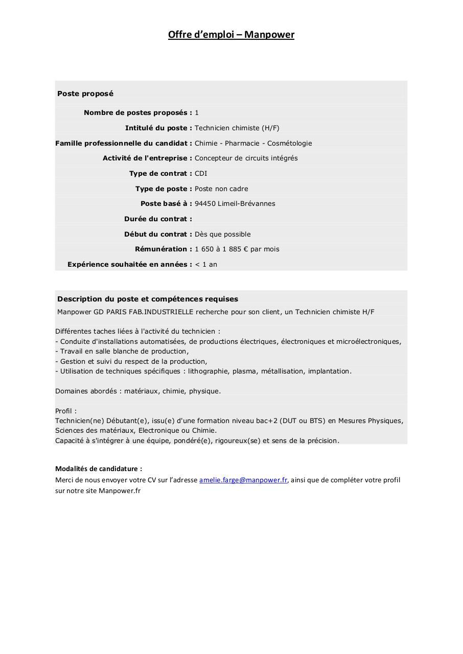 Fiche De Poste Technicien De Production Chimiste Par Amelie Farge