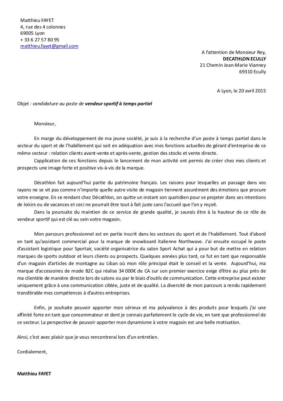 fr matthieu fayet lettre de motivation vendeur sportif par