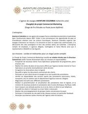 offre charge de projet commercial aventurecolombia 2015