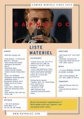 raphaloc liste materiel avril 2015