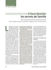 devoiler les secrets de famille idees recues en psychologie