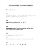 chronologie des romans kabyles d expression francaise