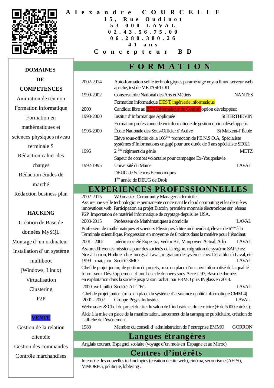 curriculum vitae alexandre courcelle par util04 - cv courcelle alexandre