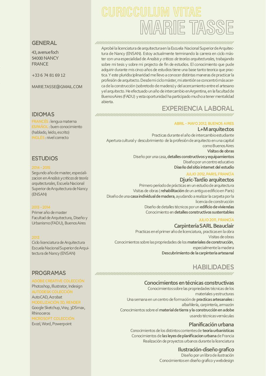 Curriculum vitae Marie Tasse - Fichier PDF