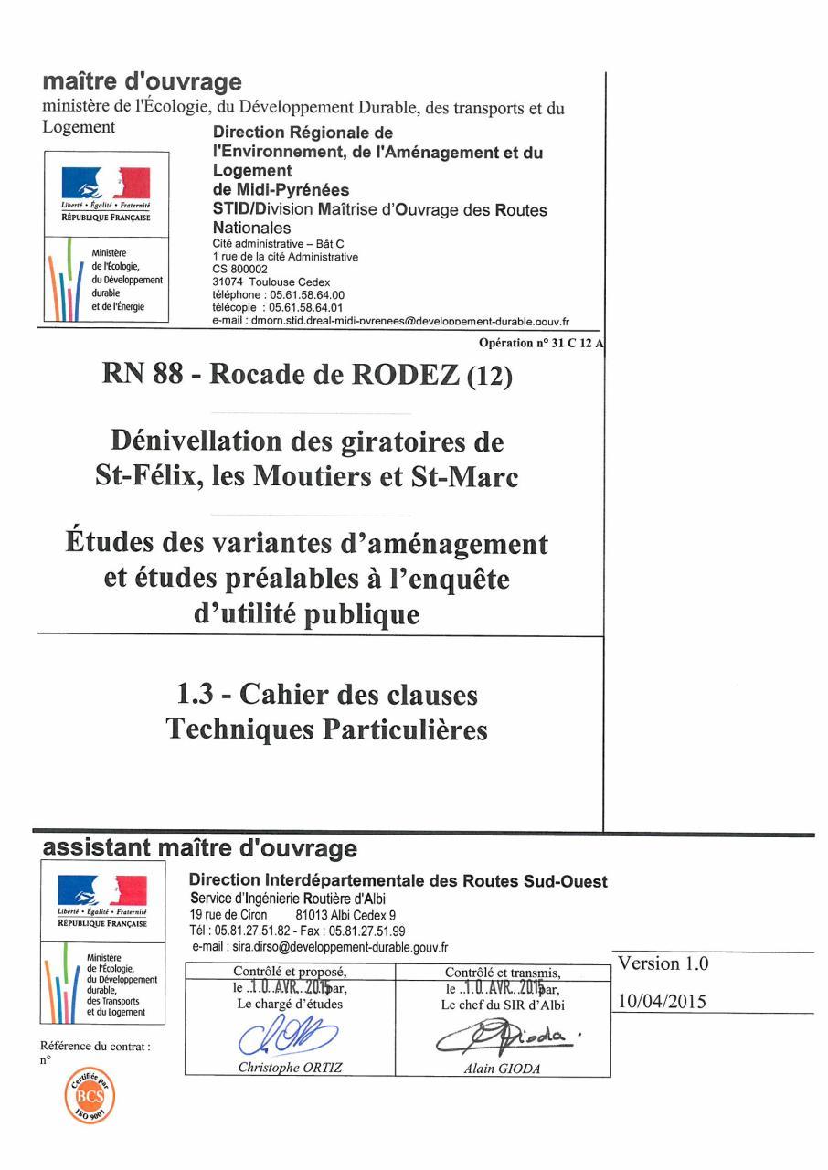 43 1 3 Cctp Tudes MARCHE PUBLIC De PRESTATIONS INTELLECTUELLES CAHIER DeS CLAUSES TECHNIQUES PARTICULIERES