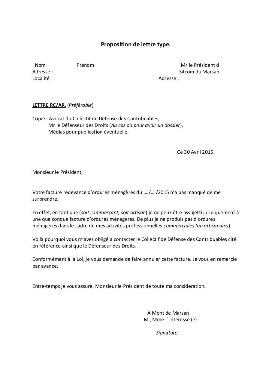 Proposition de lettre type par PADOVANI Alain   Fichier PDF