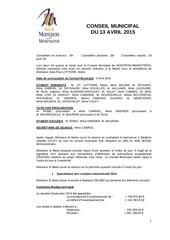conseil municipal du 13 avril 2015