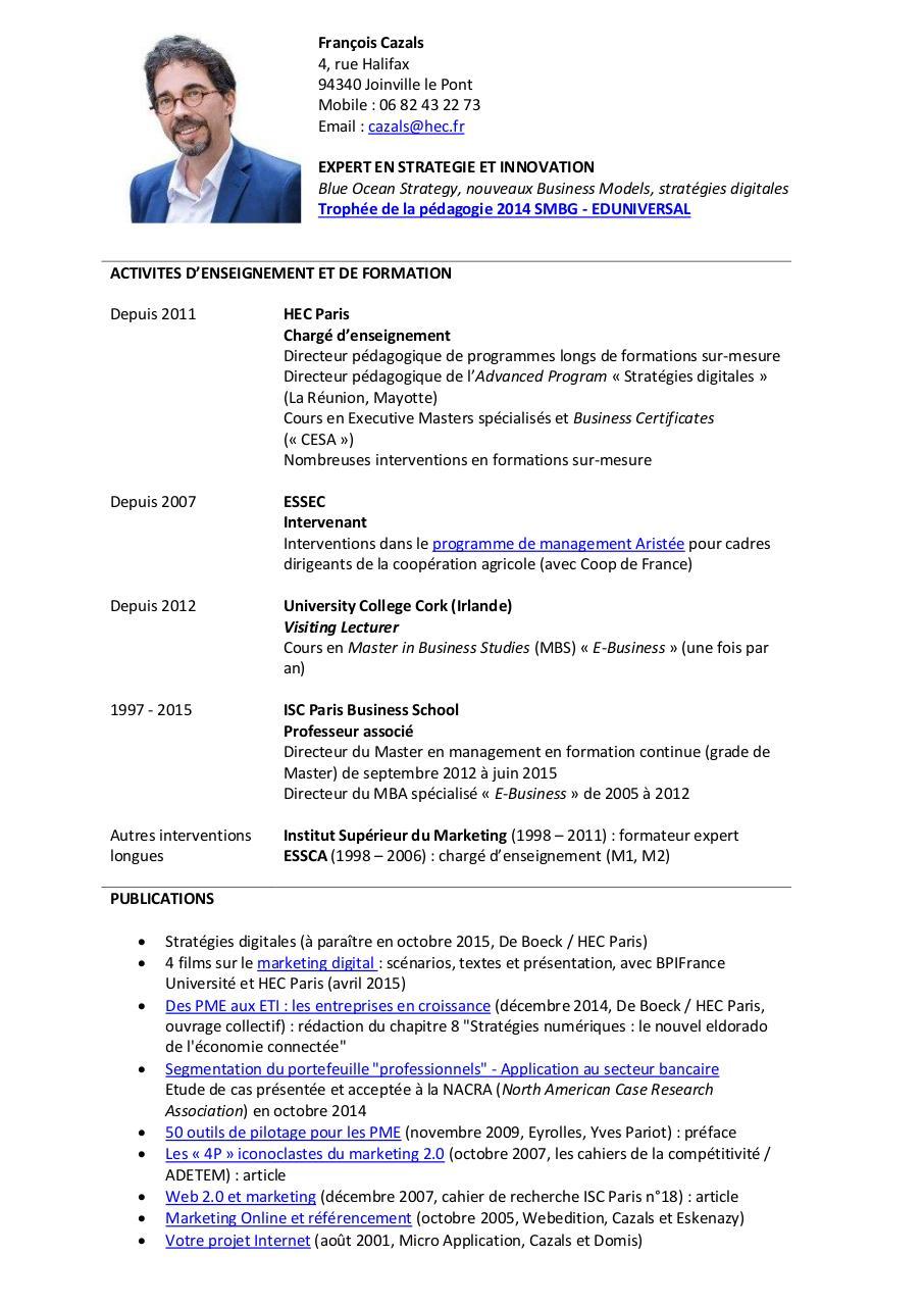 cv grandes  u00e9coles pdf par cazals