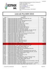 liste de prix may 2015