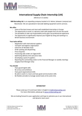 supply chain internship