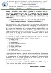 appel a manifestion elaboration du 2eme rapport alternatif sur les desc au cameroun