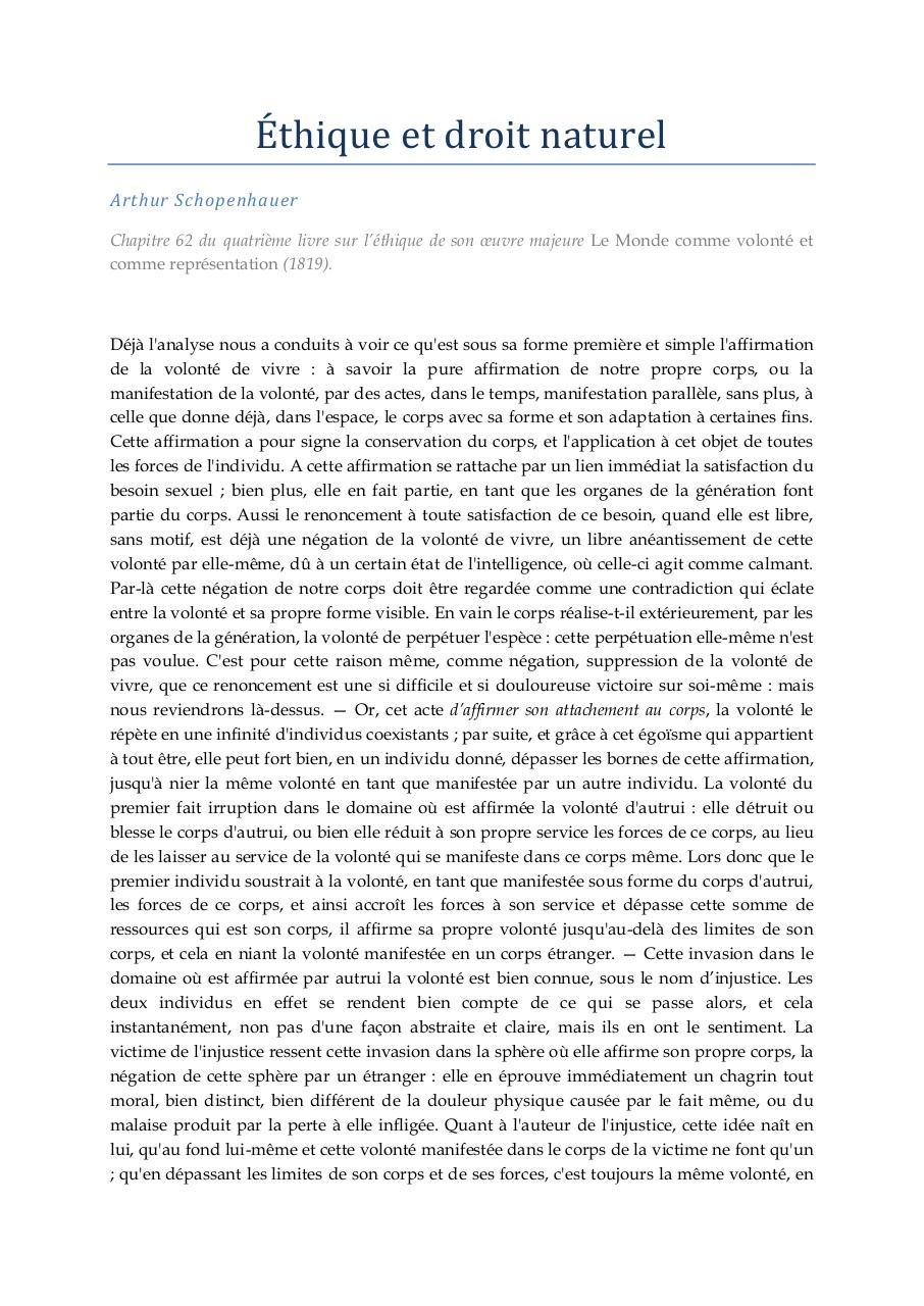 16. SCHOPENHAUER Arthur - Ethique et droit naturel par HAYEK ...