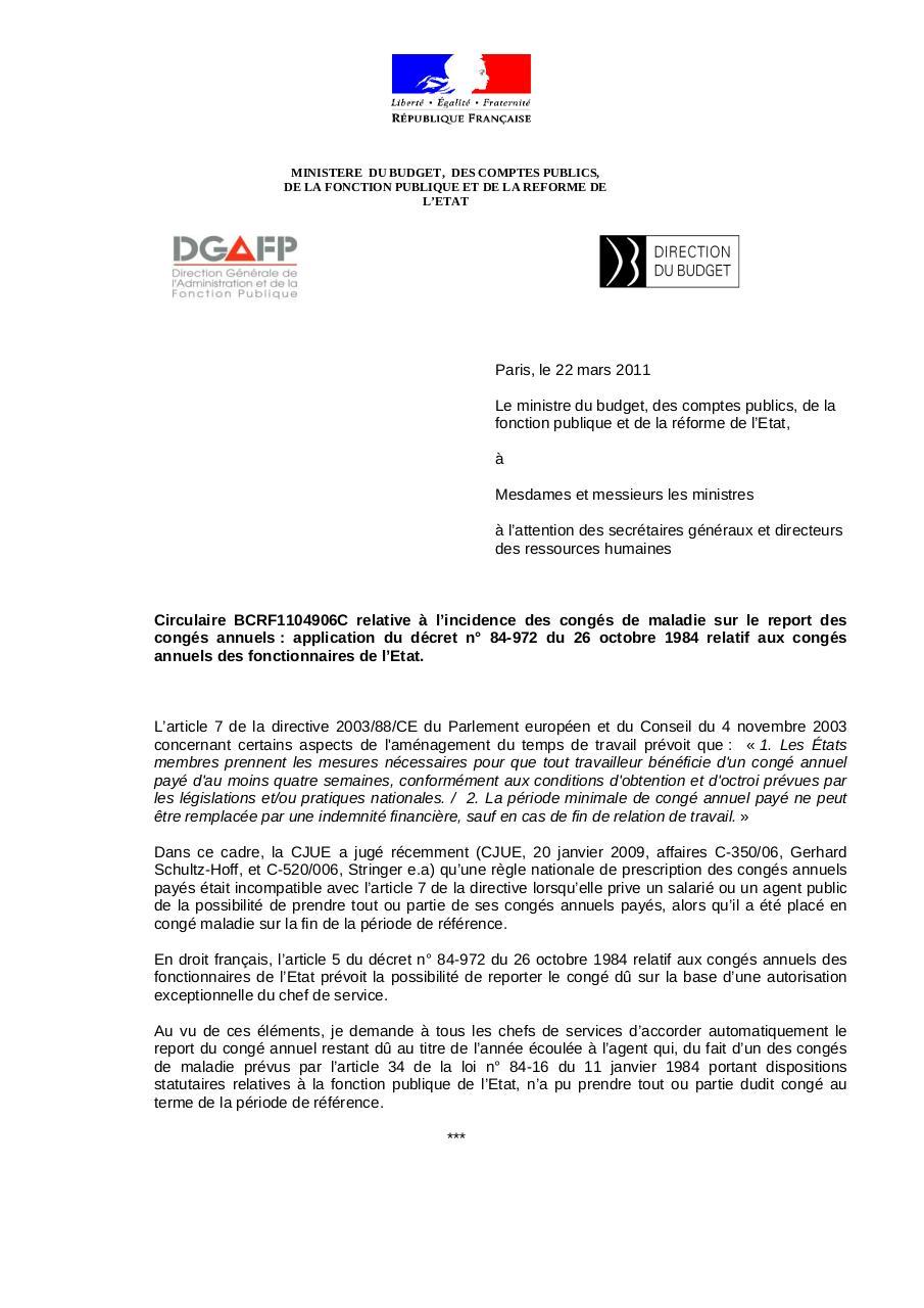 Circulaire Par Ministere Du Budget Des Comptes Publics De La
