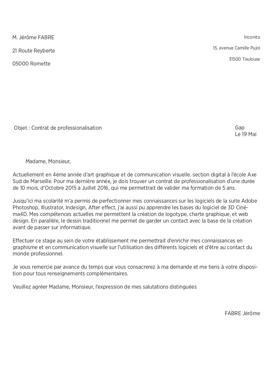 Lettre De Motivation Contrat Pro Inconito Fichier Pdf
