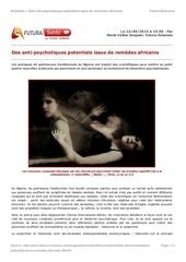 des anti psychotiques potentiels issus de remedes africains